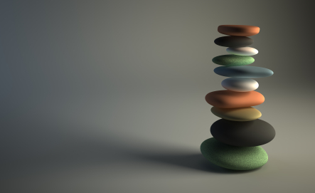 3d stack of pebbles