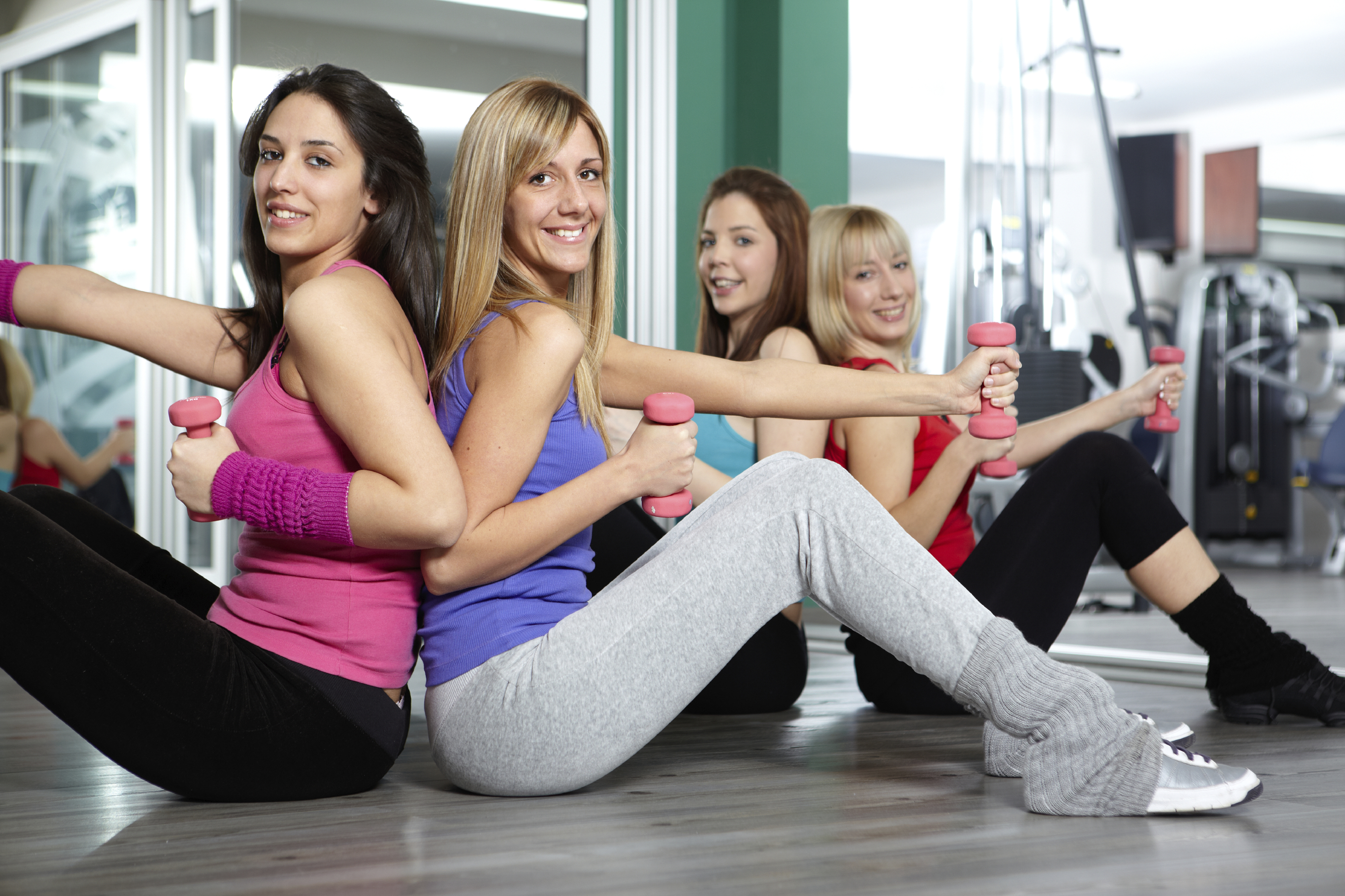 Group of young woman exercising