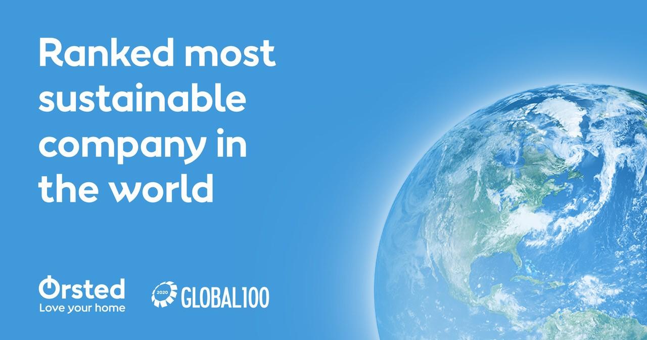 Ørsted op plaats één van de wereldwijd 100 meest duurzame bedrijven