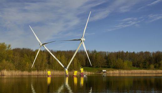 EnBW en aerodyn testen prototype drijvend windproject in Duitse Oostzee