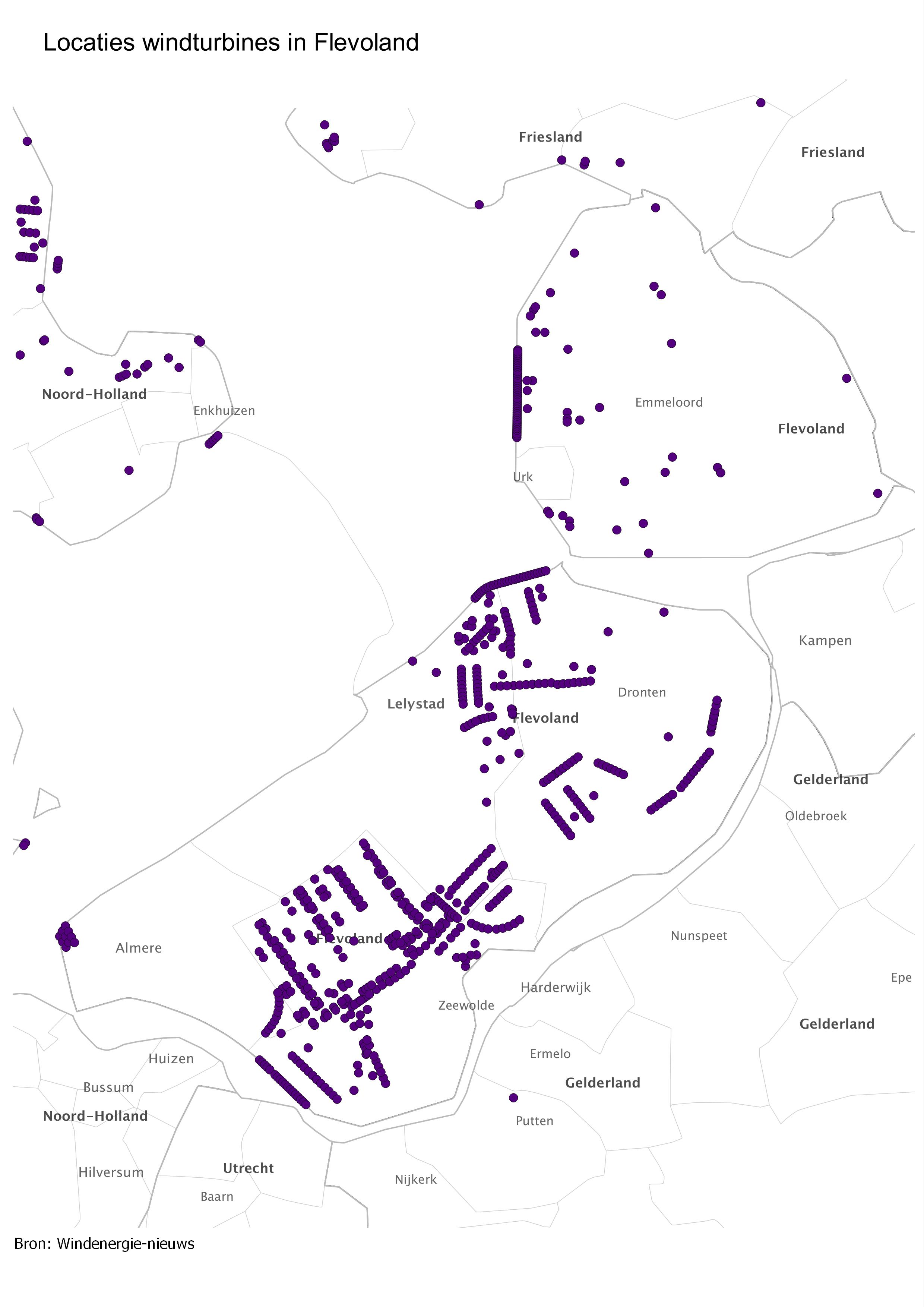 Kaart locaties flevoland